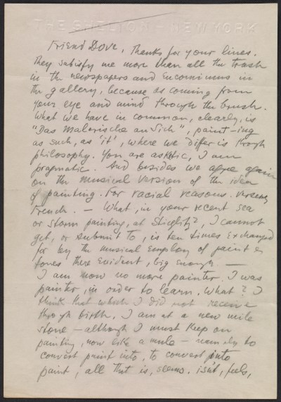 Oscar Bluemner letter to Arthur Garfield Dove