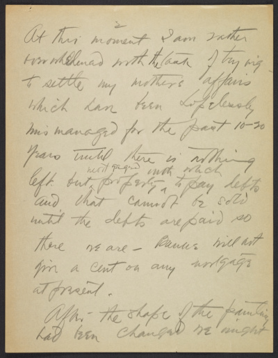 Draft of letter from Arthur Dove to Alfred Stieglitz