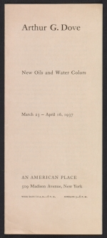 An American Place catalog for Arthur G. Dove, new oils and water colors exhibition