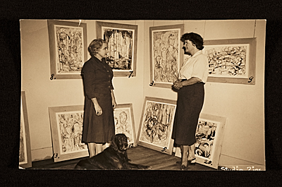 Edith Halpert & Mrs. Geddes (?) with artwork