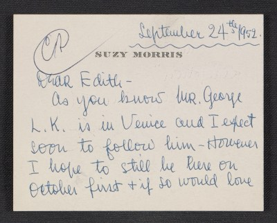 Suzy Morris note to Edith Halpert