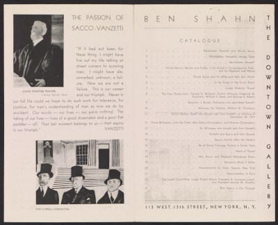 Downtown Gallery exhibit brochure for Ben Shahns The passion of Sacco-Vanzetti