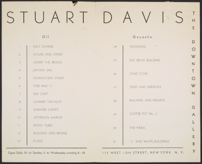 The catalog for Stuart Davis exhibition  The American Scene at the Downtown Gallery