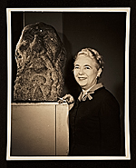 Edith Gregor Halpert with a sculpture