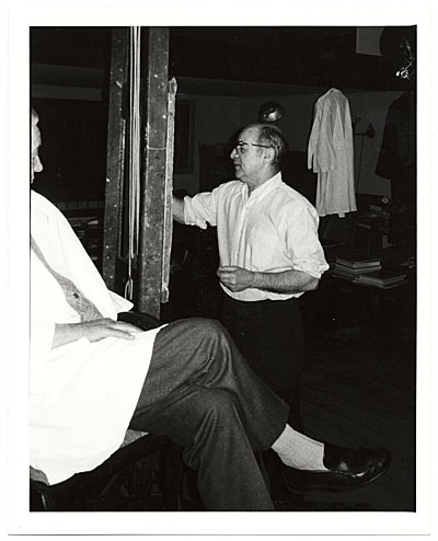 Pietro Pezzati painting a portrait of Lawrence Robbins