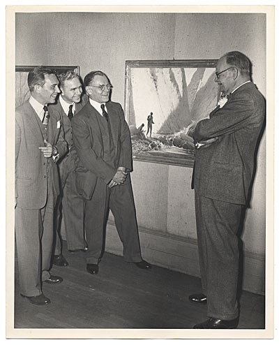 Frank DuMond and friends with painting
