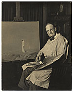 Portrait of Frank DuMond with easel and paints