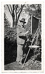 Frank DuMond painting outdoors