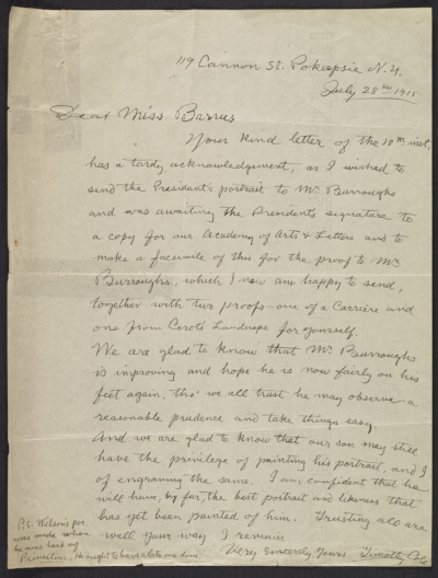 Timothy Cole, Poughkeepsie, New York letter to Miss Barrus