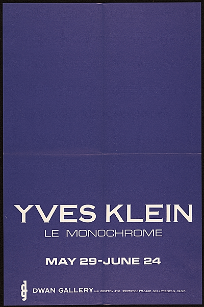 Dwan Gallery exhibition announcement for Yves Klein Le Monochrome