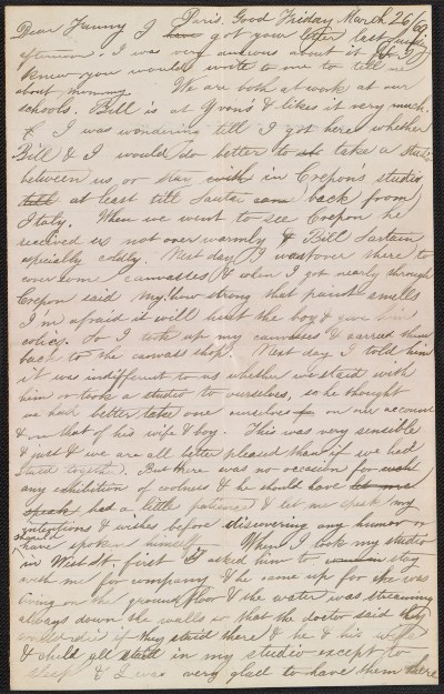 Thomas Eakins letter to Frances Eakins
