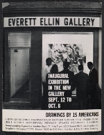 An exhibition announcement for the Everett Ellin Gallery's Inaugural Exhibition in the New Gallery