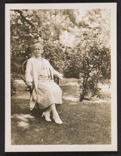 Edith Emerson seated in garden