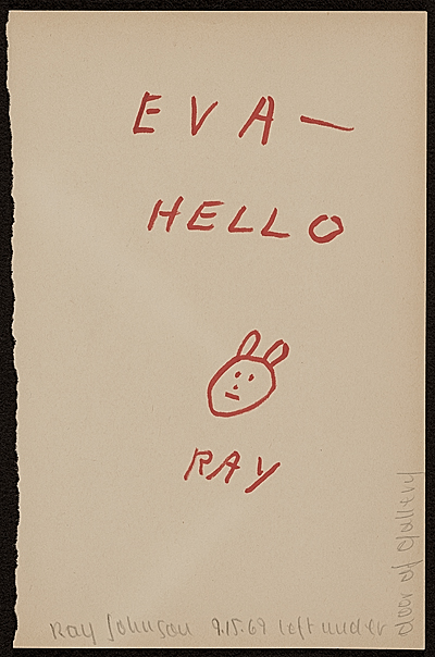[Ray Johnson note to Eva Lee, Great Neck, N.Y.]