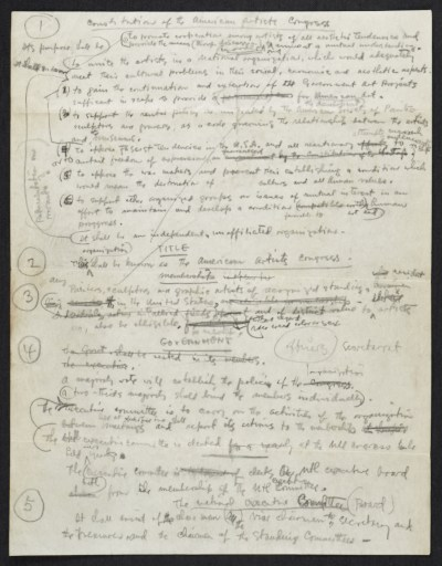 Notes for a speech on the Constitution of the American Artists' Congress