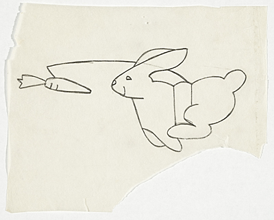 [Study of running rabbit image used in numerous works]