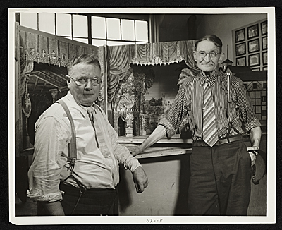 Two men with model in Scenic Design Division of Federal Theatre Project