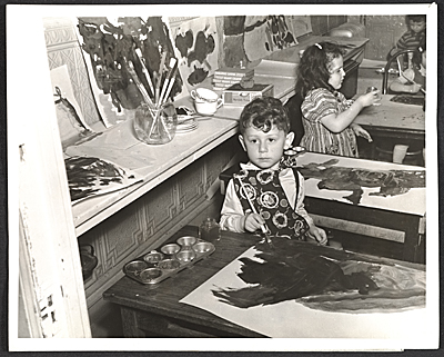 A young child named Joachim at a free Federal Art Project art class in Brooklyn