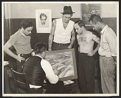 Members of the W.P.A. Federal Art Project art class at the Seamens Institute.