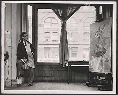 [Yasuo Kuniyoshi in his studio]
