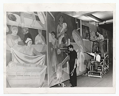 Abraham Lishinsky and assistants working on mural