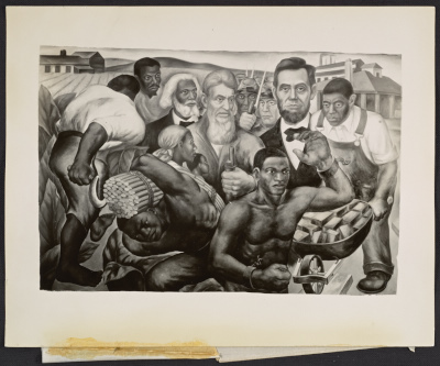 The completed Emancipation of the Negro Slaves panel of Eitaro Ishigakis The Civial War mural at the Harlem Courthouse in New York