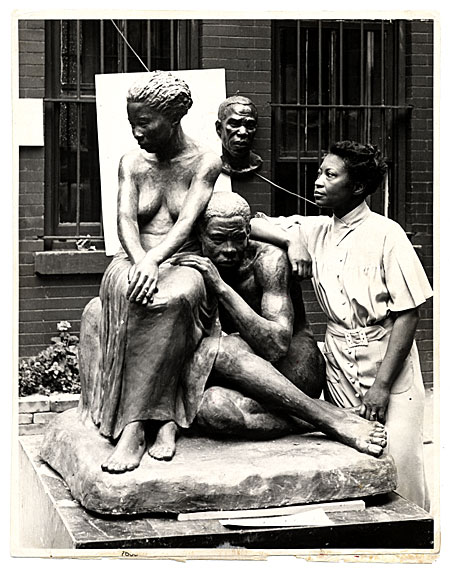 [Augusta Savage with her sculpture Realization]