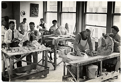Sculpture workshop in New York sponsored by the Federal Art Project