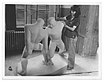 Josephine Frankel Levy with her sculpture The Wrestlers