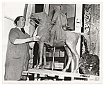 Alexander Finta with his sculpture