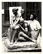 Augusta Savage with her sculpture Realization