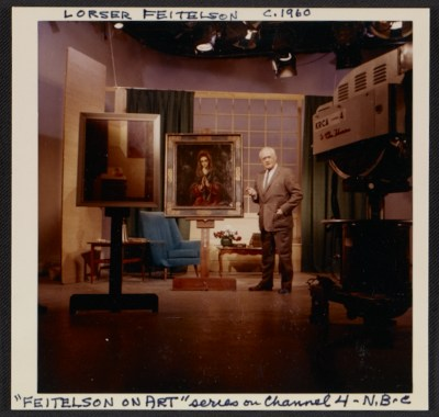 [Lorser Feitelson on the set of his television  series Feitelson on art]