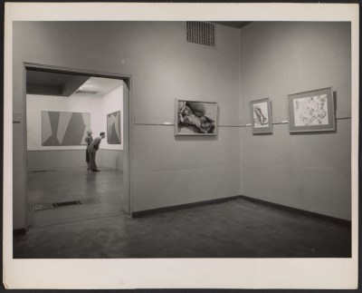 [Installation view of a Lorser Feitelson exhibition]