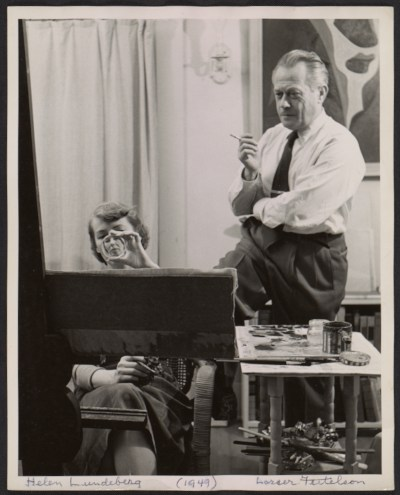 Helen Lundeberg and Lorser Feitelson in their studio
