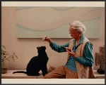 [Helen Lundeberg playing with her cat]