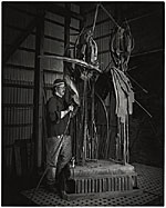 Albert Paley working on  Animal Sculpture