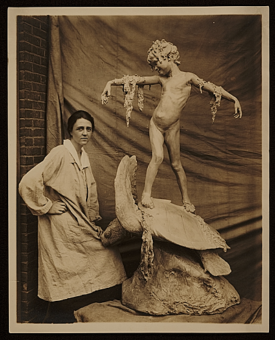 [Beatrice Fenton with her sculpture Seaweed fountain]