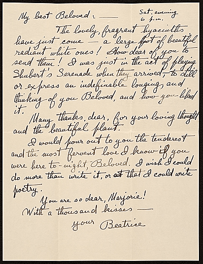 Beatrice Fenton letter to Marjorie Martinet