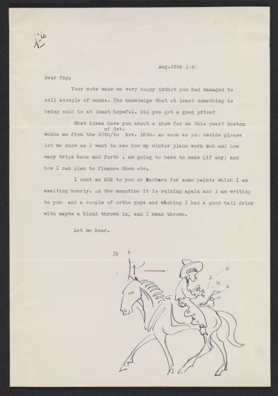 [John Pike letter to F. Newlin (Frederic Newlin) Price, New York, N.Y.]
