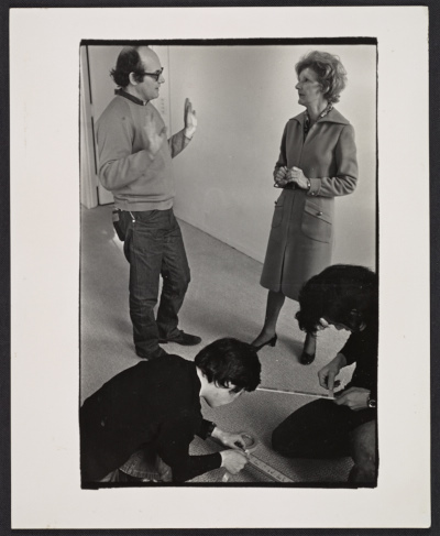 Elayne Varian speaking to Sol Le Witt during the public installation of his exhibit Art in process V
