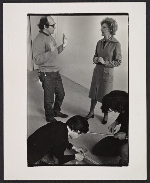 [Elayne Varian speaking to Sol Le Witt during the public installation of his exhibit Art in process V]