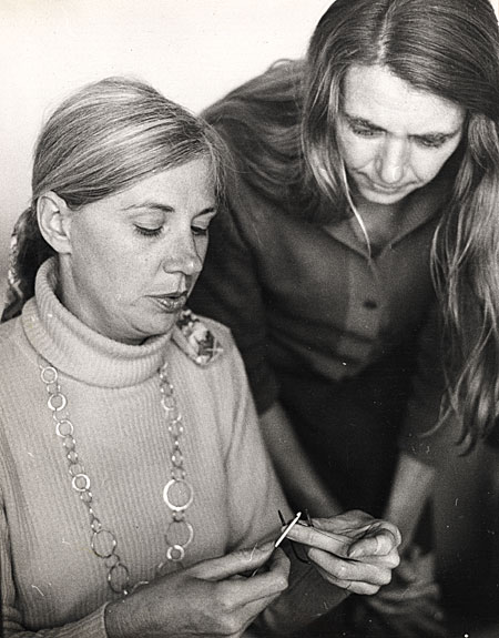 [Arline M. Fisch teaching a student to crochet wire]