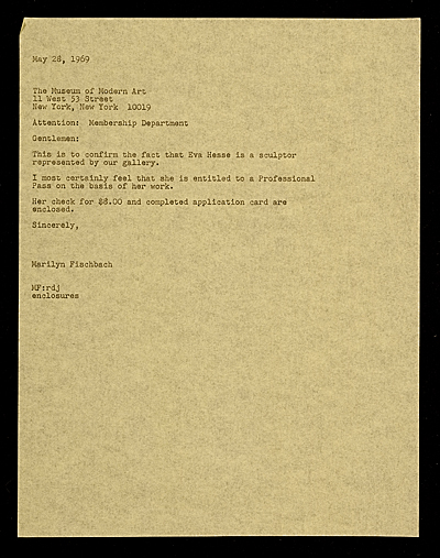 Marilyn Fischbach letter to Museum of Modern Art (New York, N.Y.)