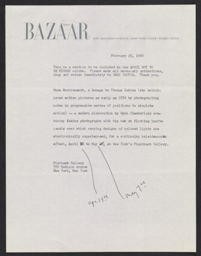 Harpers Bazaar memorandum about the exhibit Nude environment