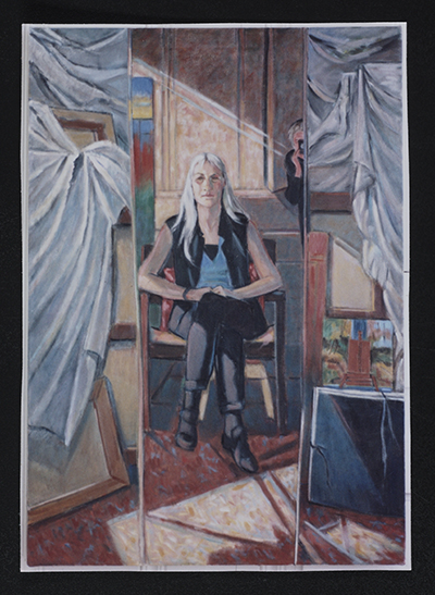 [Reproduction of Ethel Fisher's painting Margaret Fisher reflected in studio mirror]