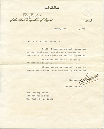 [Anwar Sadat, Cairo, Egypt letter to Audrey Flack, New York, N.Y.]