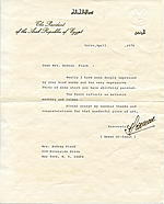 Anwar Sadat, Cairo, Egypt letter to Audrey Flack, New York, N.Y.