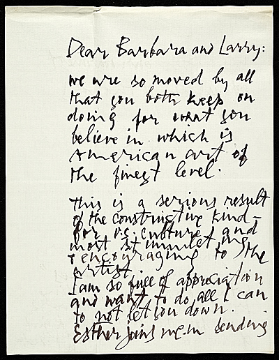 [Letter from Abraham Rattner to Lawrence and Barbara Fleischman]