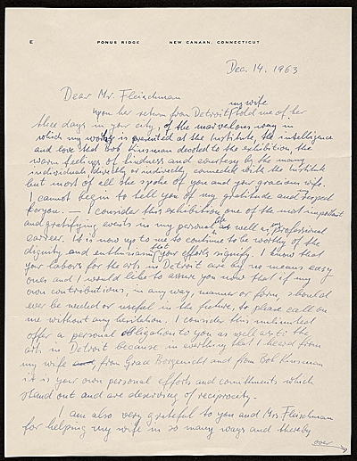 [Jimmy Ernst, New Canaan, Conn. letter to Lawrence Arthur Fleischman, Detroit, Mich.]