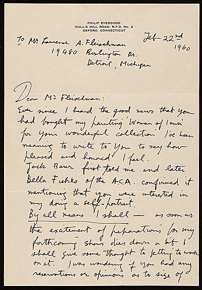 [Philip Evergood, Oxford, Connecticut letter to Lawrence Arthur Fleischman, Detroit, Mich.]